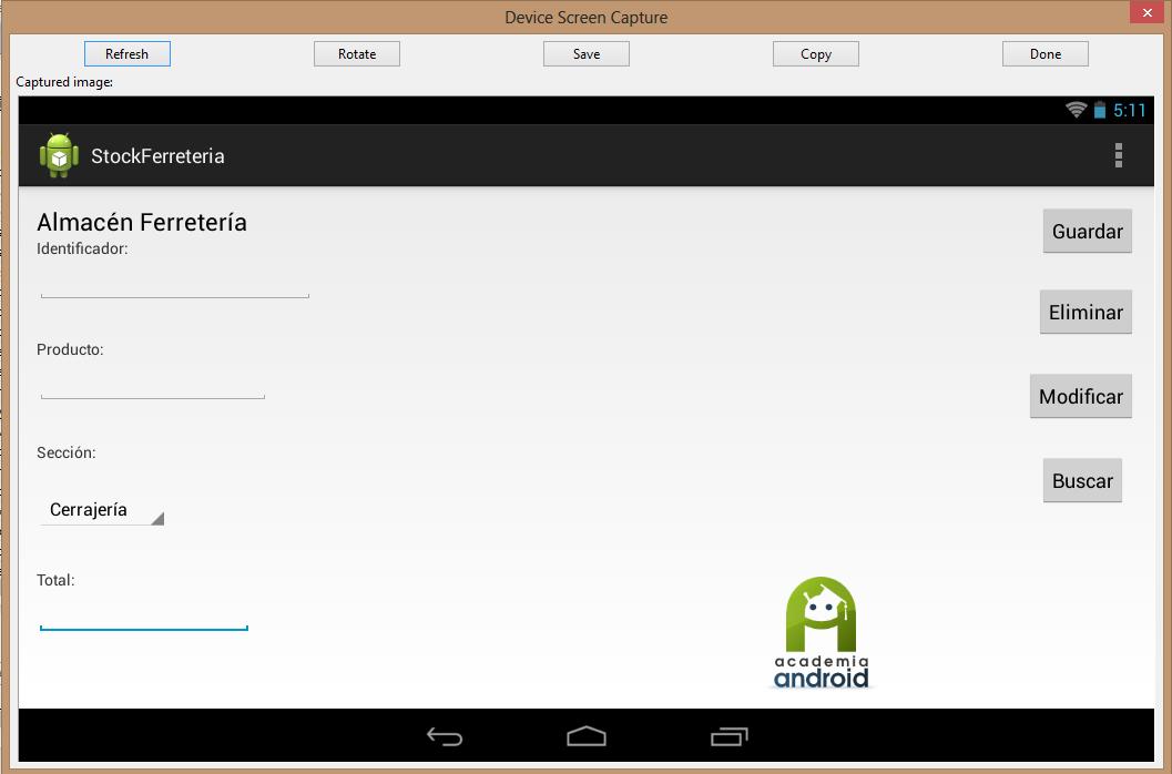 interfaz aplicación Android: botones CRUD