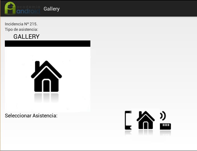 Ejemplo con Gallery en la Aplicación Android de incidencias