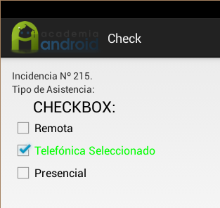 Checbox en nuestra aplicaciónAndroid de incidencias