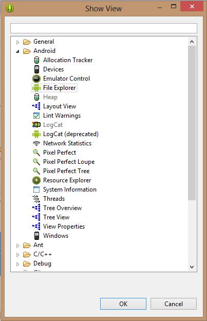 DDMS - File explorer