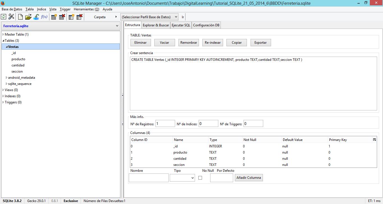 Pantalla SQLite Manager