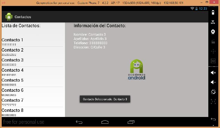 Pantalla de la App lista de contactos