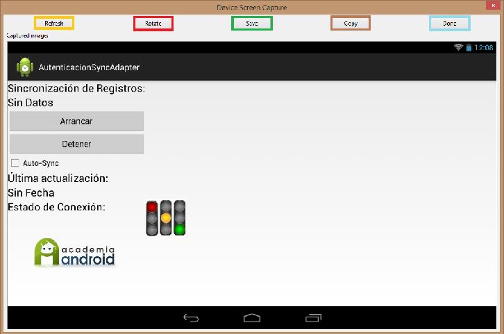 Captura de la pantalla del emulador