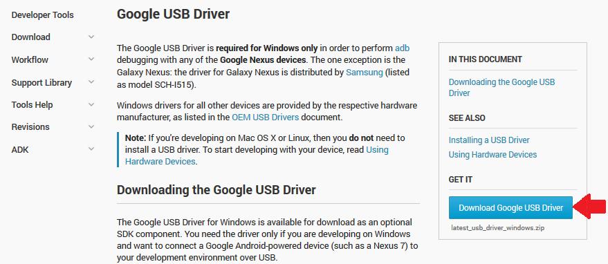 Descarga de Google USB Driver