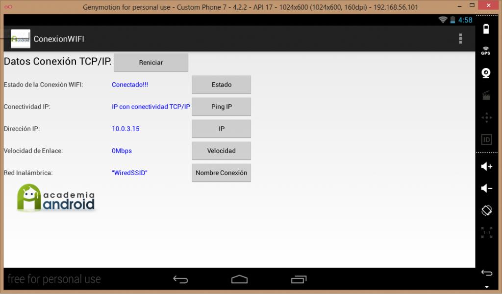 Imagen aplicación en enulador