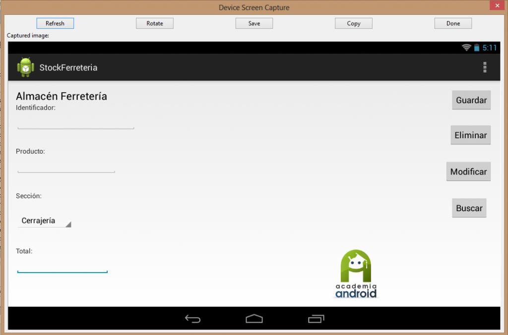 Captura pantalla de una App