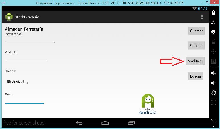 Opcion modificar registro en la App