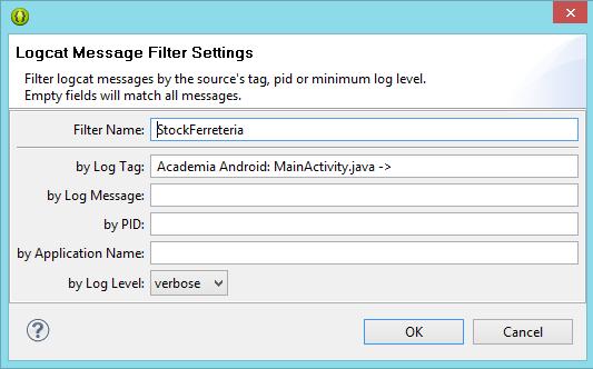 Configuración filtro en logcat