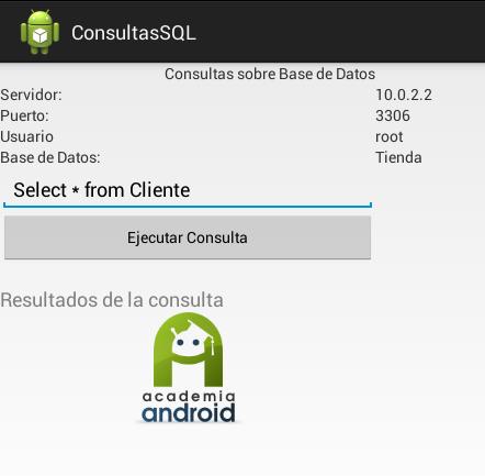 Pantalla Aplicación Android: Ejecutar Consulta SQL