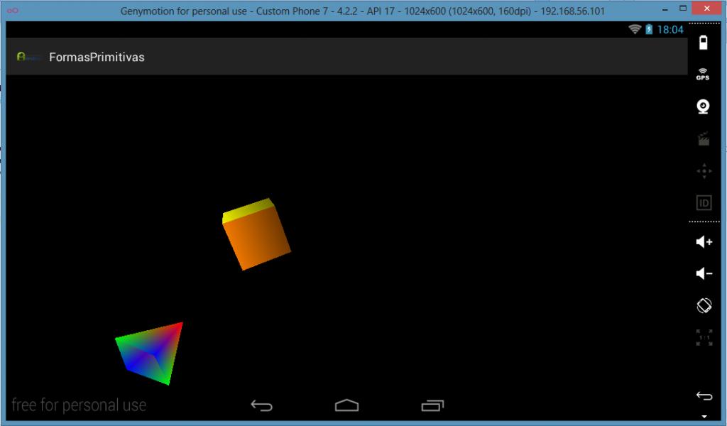 Objetos 3D renderizados en la Aplicación Android