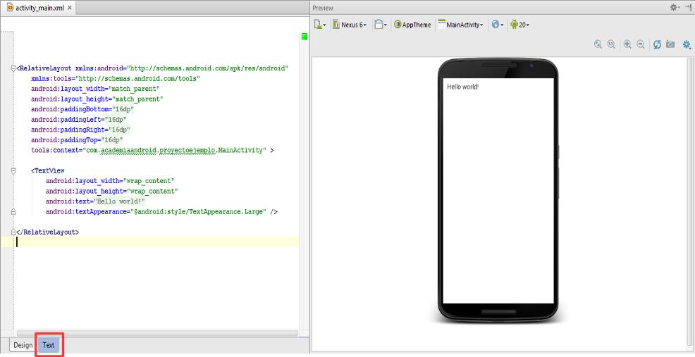 Diseño del editor de Android Studio