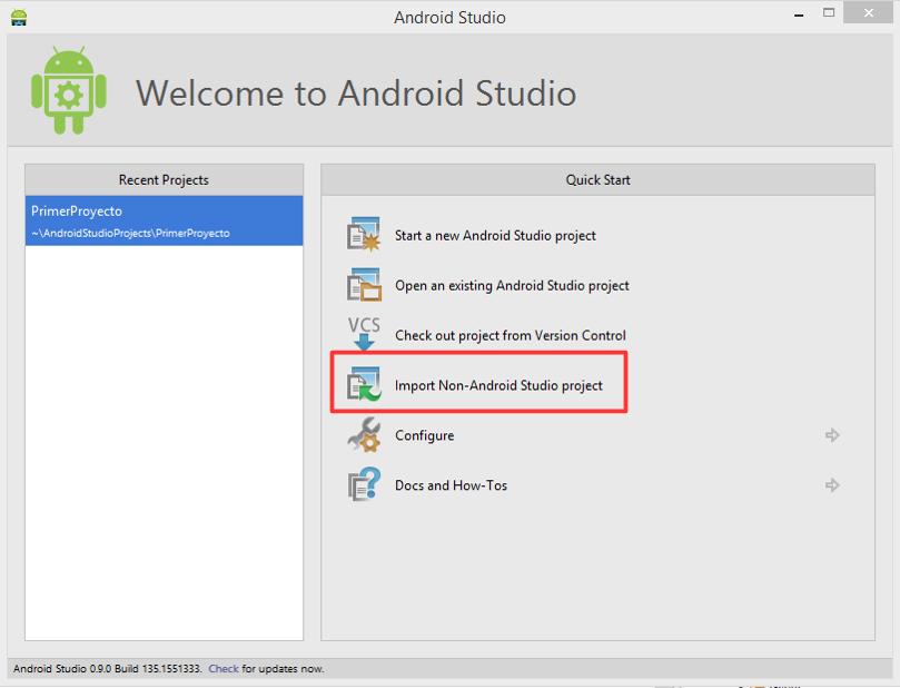Opción importar proyecto Eclipse en Android Studio