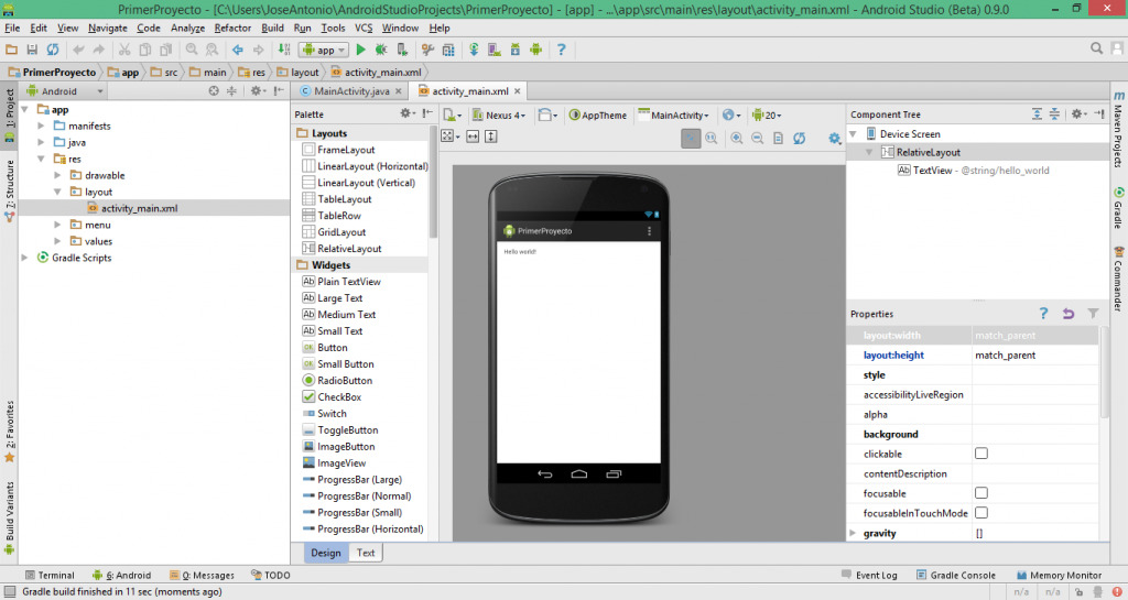 Ventana principal de Android Studio