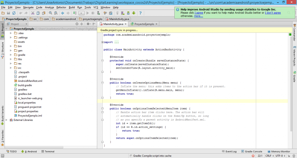 Proyecto Eclipse en Android Studio