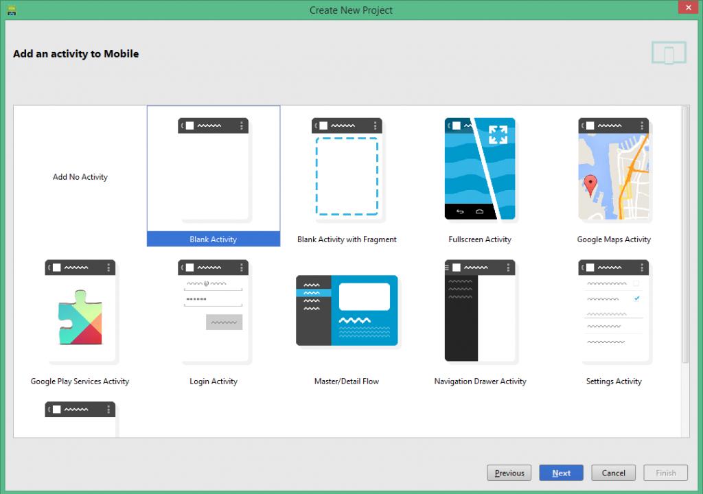 Elección tipo Activity en Android Studio