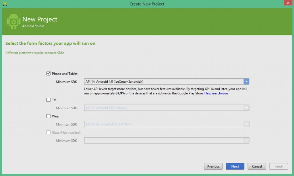 Elección Tipo App en Android Studio