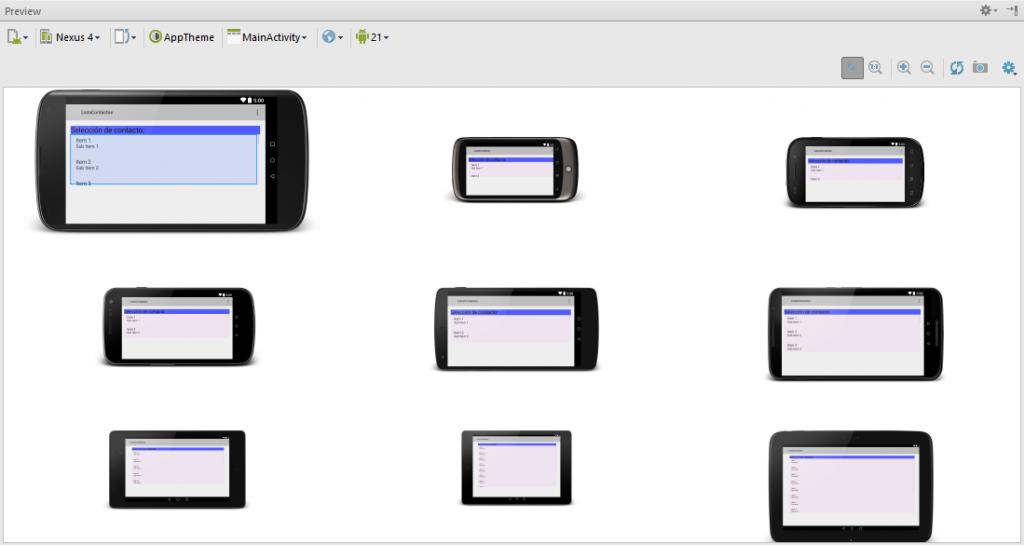 Opción preview Devices en Android Studio