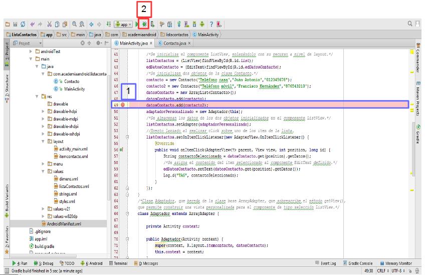 Uso de breakpoints para depurar en Android Studio