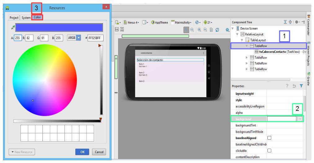 Herramienta diseño color en  Android Studio