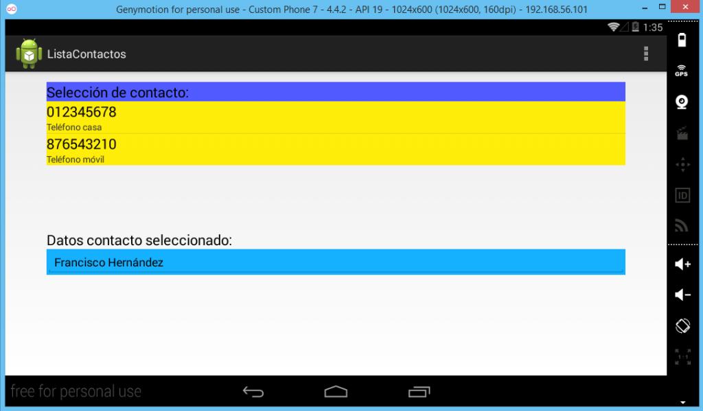 Pantalla del proyecto ejemplo con Android Studio
