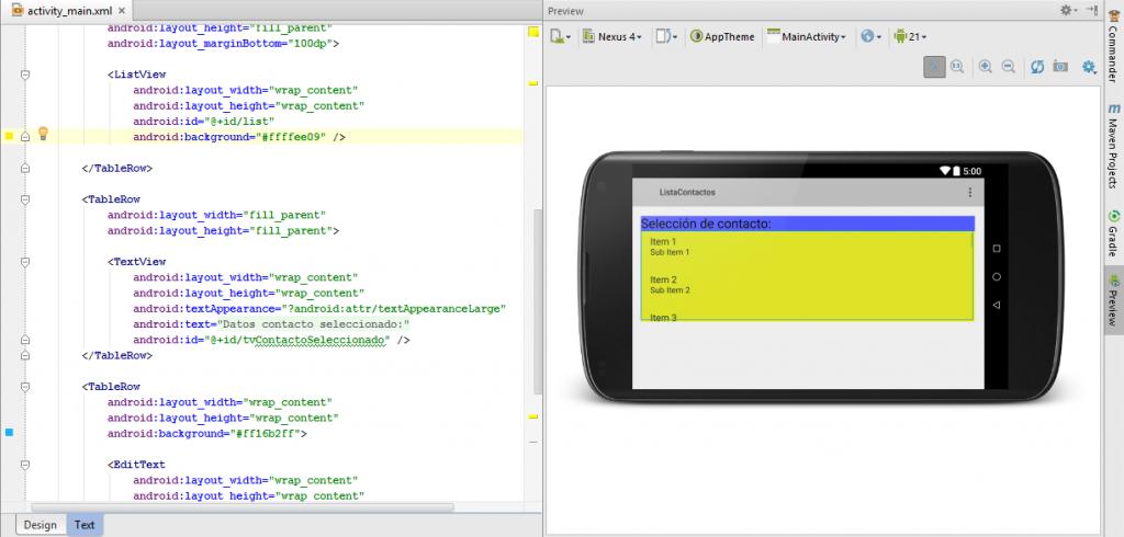 opción Preview Text en Android Studio
