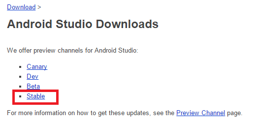 Canal Stable versiones Android Studio