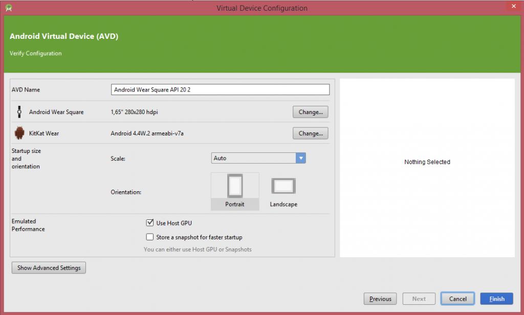 Resumen dispositivo seleccionado en Emulador Android Wear