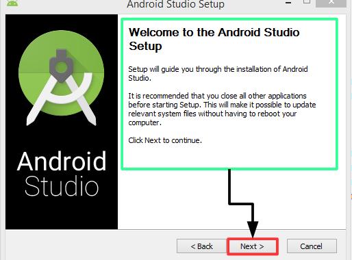 Pantalla 1 Instalación Android Studio