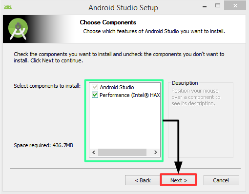 Pantalla 2 instalación Android Studio