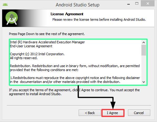 Pantalla 3 instalación Android Studio