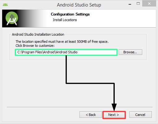 Pantalla 4 instalación Android Studio