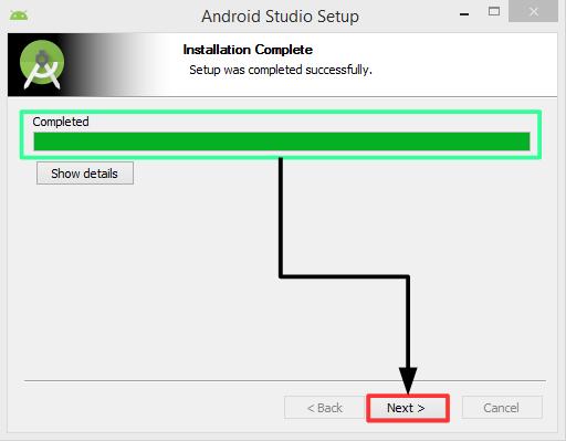 Pantalla 8 instalación Android Studio