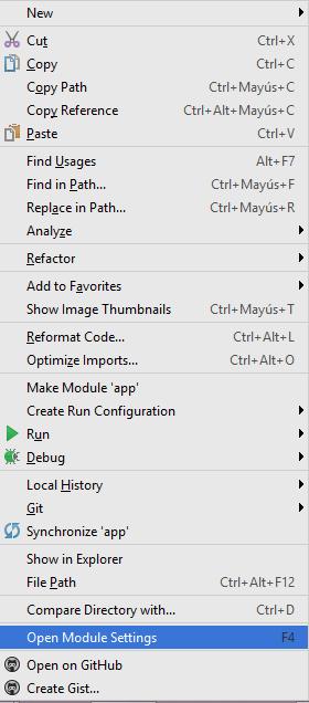 Opción Open Module Setting