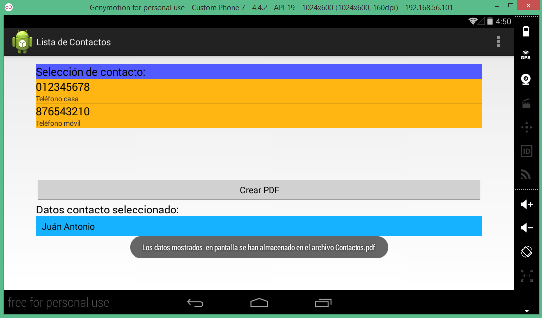 Pantalla Aplicación Lista De Contactos Android