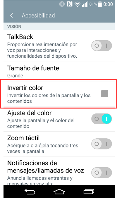Invertir Color (Android 5.0)
