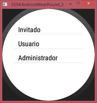 pntalla App en Smartwatch redondo con Perfil usuario