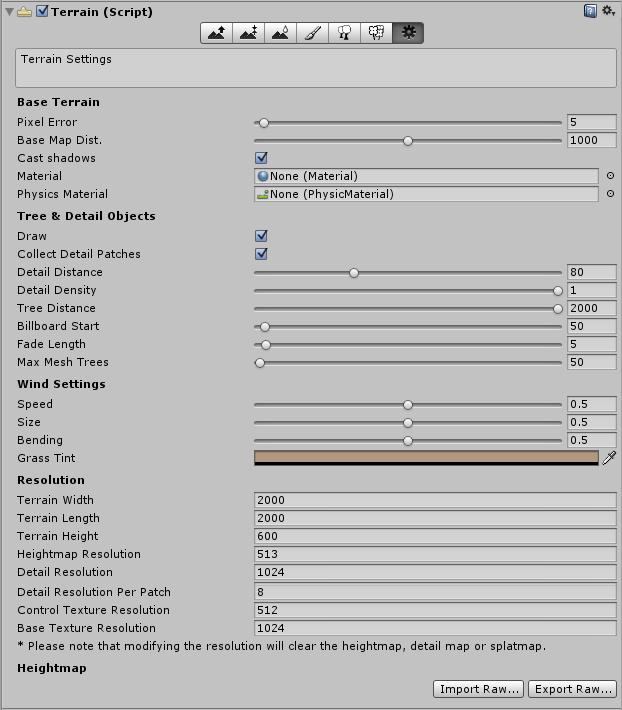 Settings para elementos de un terreno en Unity