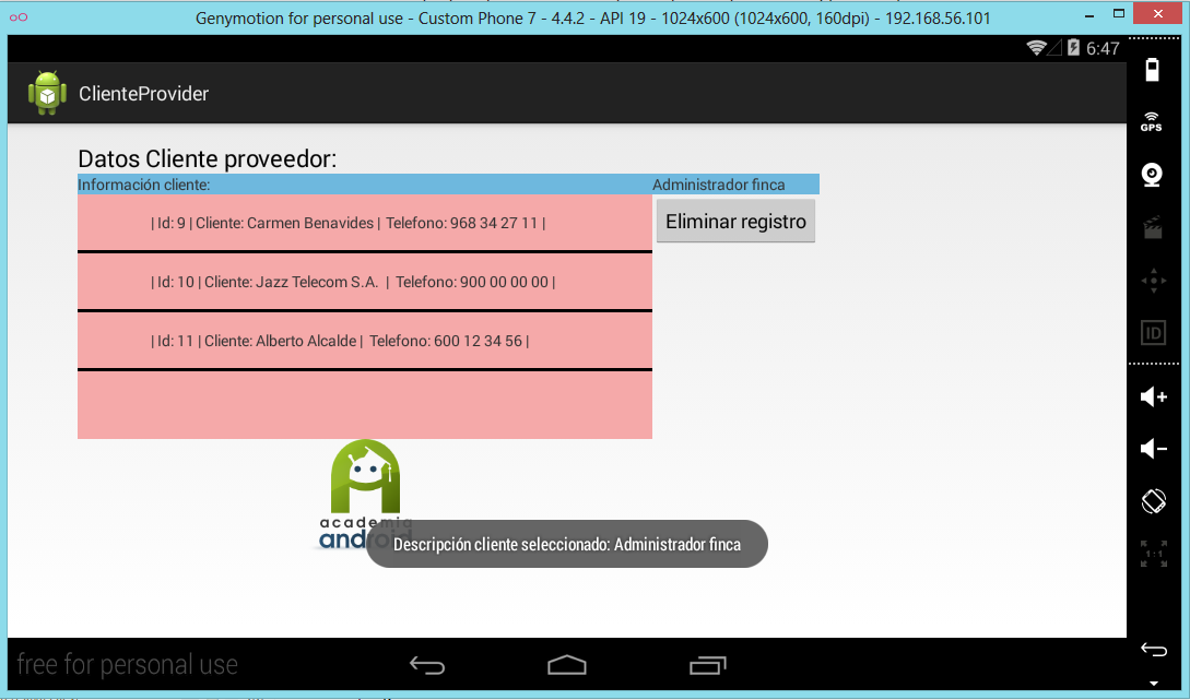 Main Activity Proyecto ClienteProvider