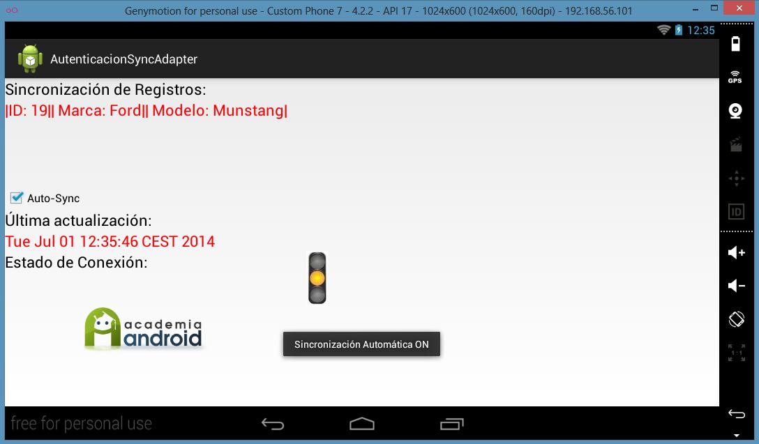 Pantalla de la App: sincronización habilitada