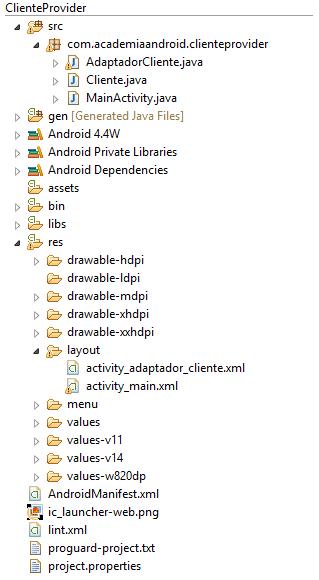 Estructura Proyecto acceso a Content Provider personalizado en Android