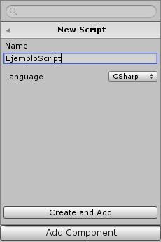 Pantalla creación script en Unity
