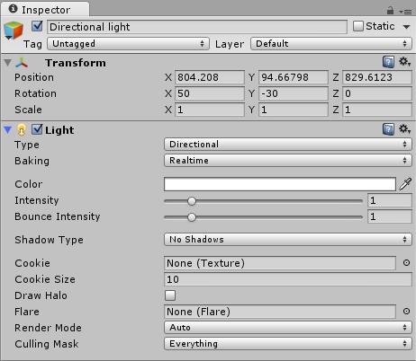 Cuadro opciones de Inspector Directional Light
