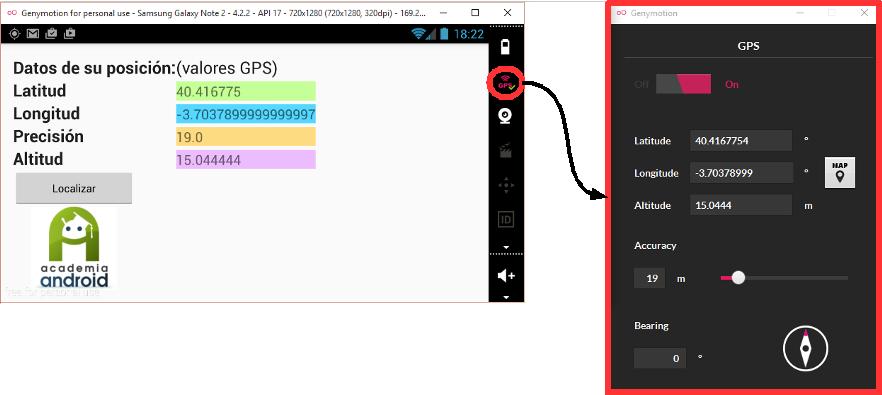 Pantalla Menú App Geolocalización Android