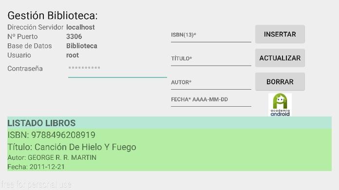 Pantalla App Android Gestion Biblioteca