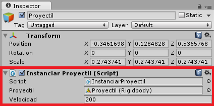Inspector GameObject Proyectil