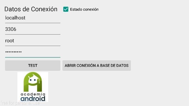 Pantalla App Android comrpobación conexión