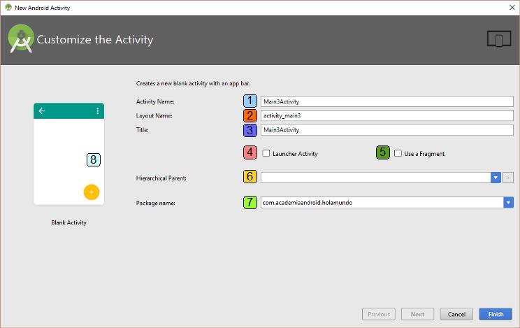 Pantalla personalización nueva Activity en App Android