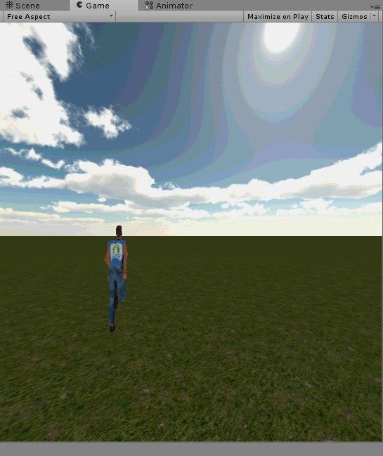 Imagen que muestra la pantalla del videojuego con el personaje en movimiento.