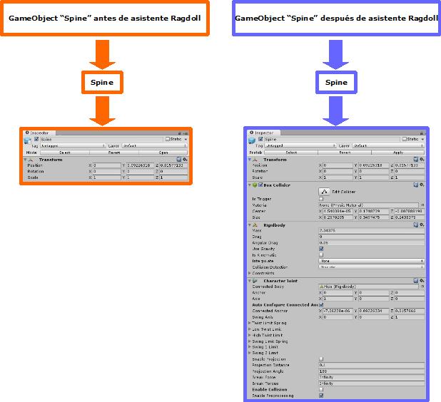 Diagrama Antes y Despues de Ragdoll