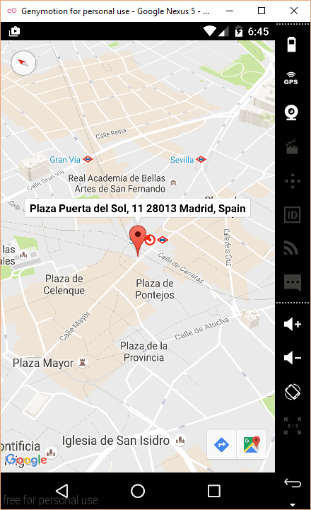 Mapa de Google Maps en emulador